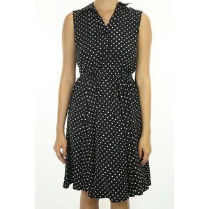 Alfani Petite Black Cap-Sleeve Polka Dot Dress